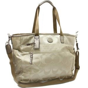 Coach Gold Sateen Signature Diaper Bag